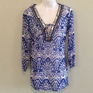 Love Beach by INC Blue & White Sequin Tunic Top